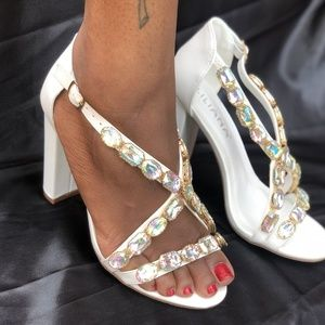 Women's White Heels with jewels.